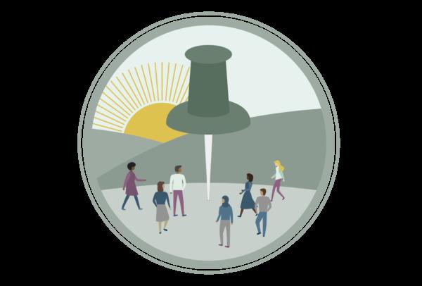 Pin Potential Summit Icon Illustration